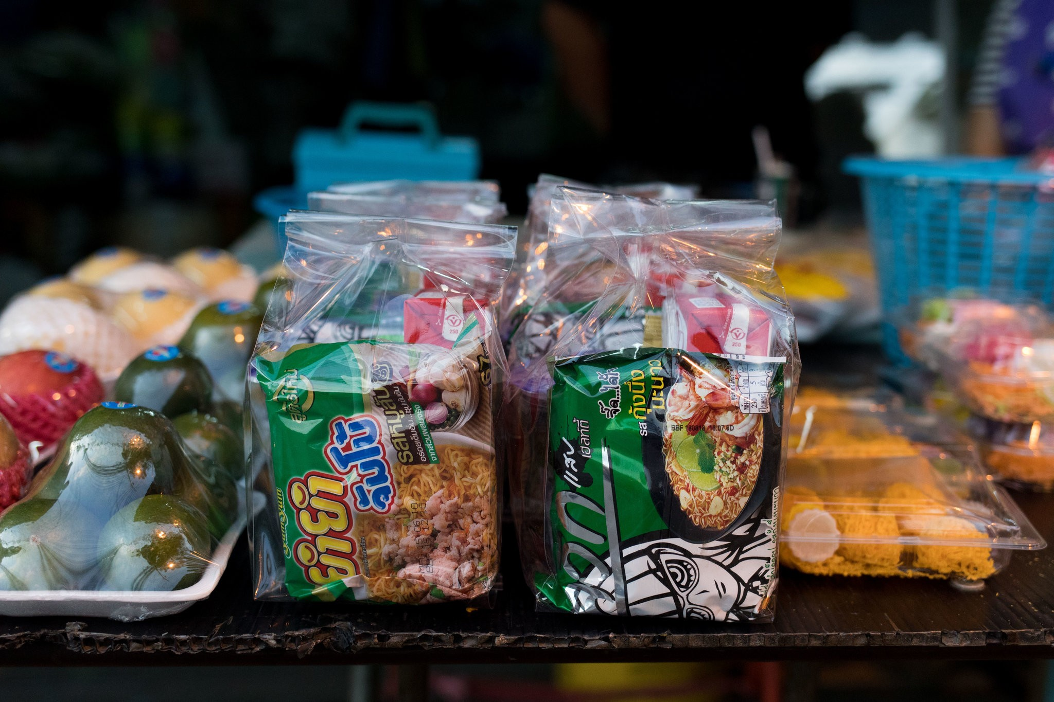 "Prepackaged food, sold to be given to monks. ""Soft drinks, boxed juice, sweet snacks, plus many of the foods are store-bought,"" a nutrition professor says, describing some typical donations.CreditAmanda Mustard for The New York Times"