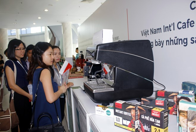 Coffee products are displayed at the Vietnam International Coffee Show 2018 in Ho Chi Minh City last May