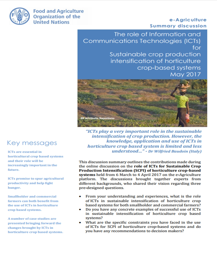 The role of Information and Communications Technologies (ICTs) for Sustainable crop production intensification of horticulture crop-based systems