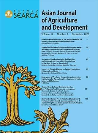 Asian Journal of Agriculture and Development Vol. 17 No. 2